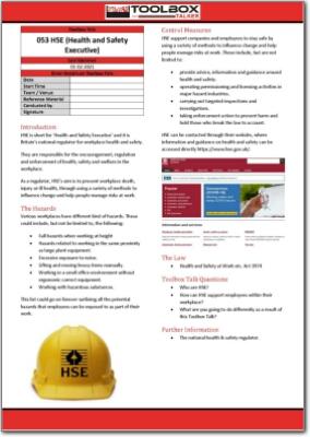 HSE toolbox talk