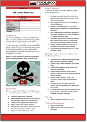 carbon monoxide toolbox talk