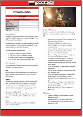 welding safety toolbox talk