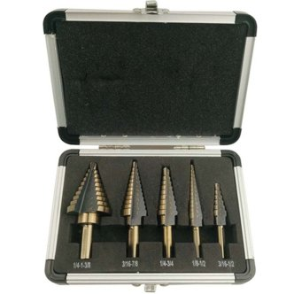 FeelGlad(TM)5pcs Titanium Step Drill Bits Set with Aluminum Case