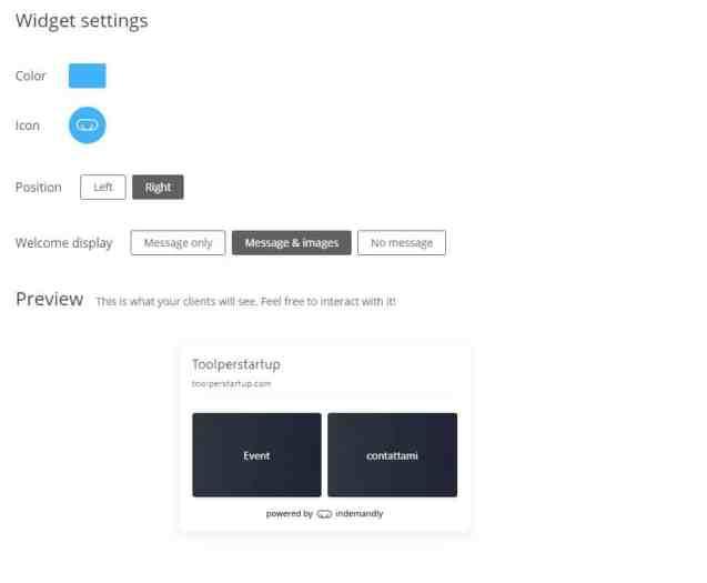 Indemandly personalizza widget