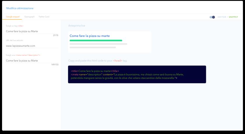 SEO Tester Online ottimizzazione snippet