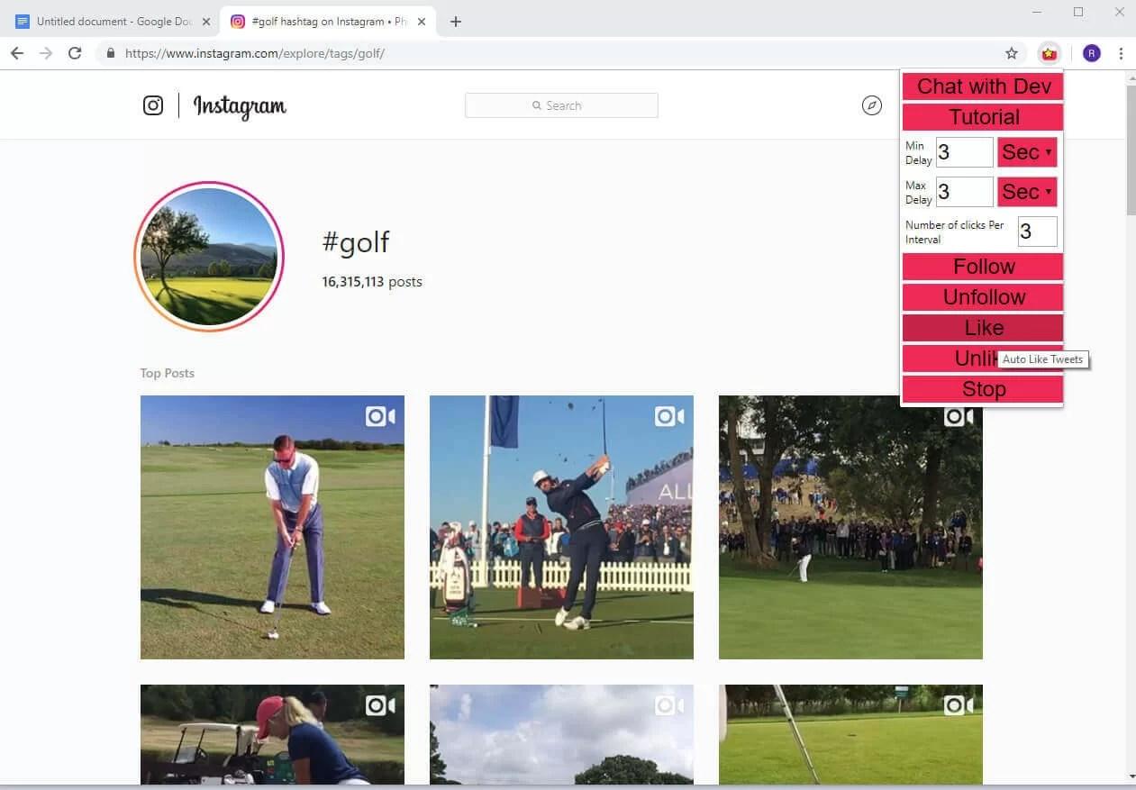Il bot per Instagram dentro Chrome, Auto Follower for