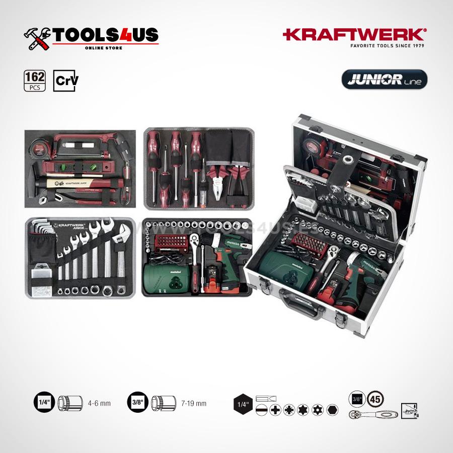 1051 KRAFTWERK maleta aluminio herramientas completo 162 piezas 02a - Maleta Aluminio compacta con herramientas y atornillador taladro Metabo (162 piezas)