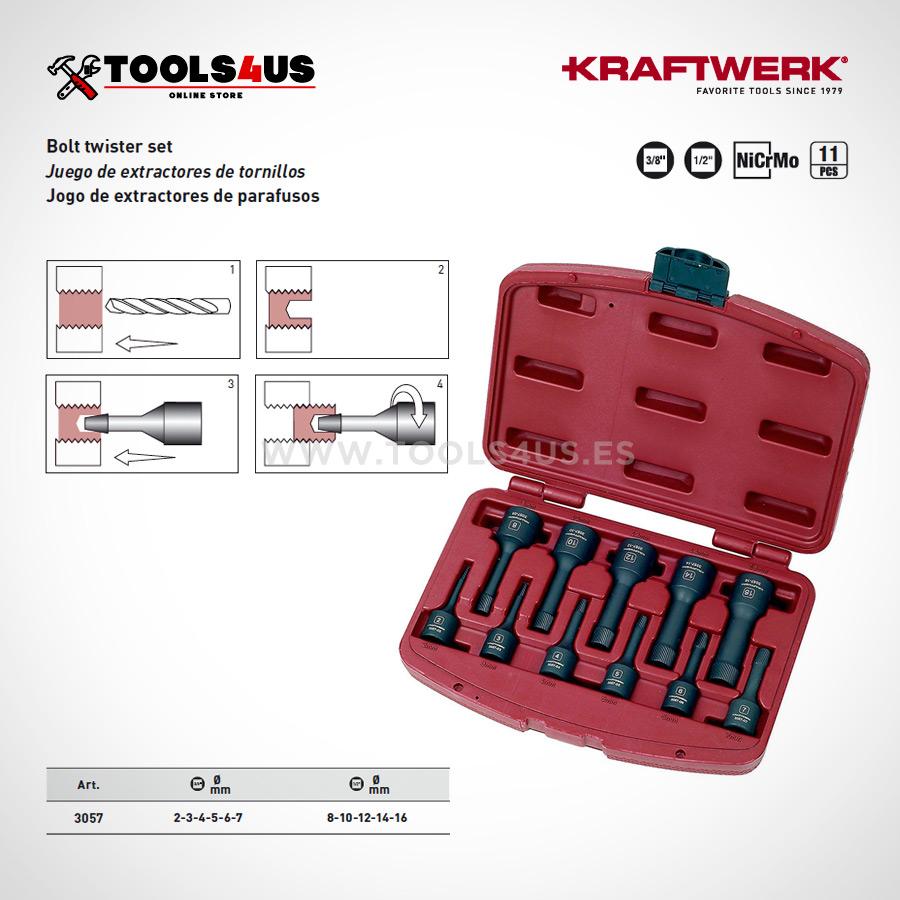 3057 KRAFTWERK Juego de extractores de tornillos 11 piezas 02 - Juego extractores tuercas-tornillo