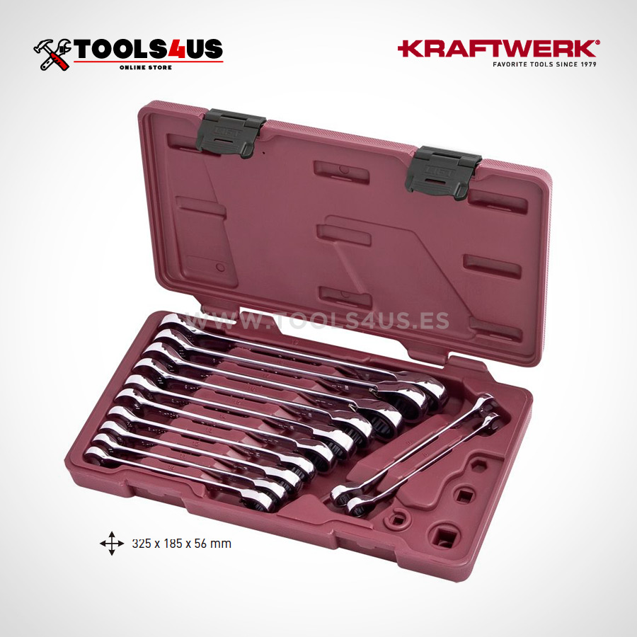 3404 54 KRAFTWERK Juego de llaves combinadas carraca reversibles 12 piezas 01 - Estuche Juego de 12 Llaves combinadas Carraca Reversible