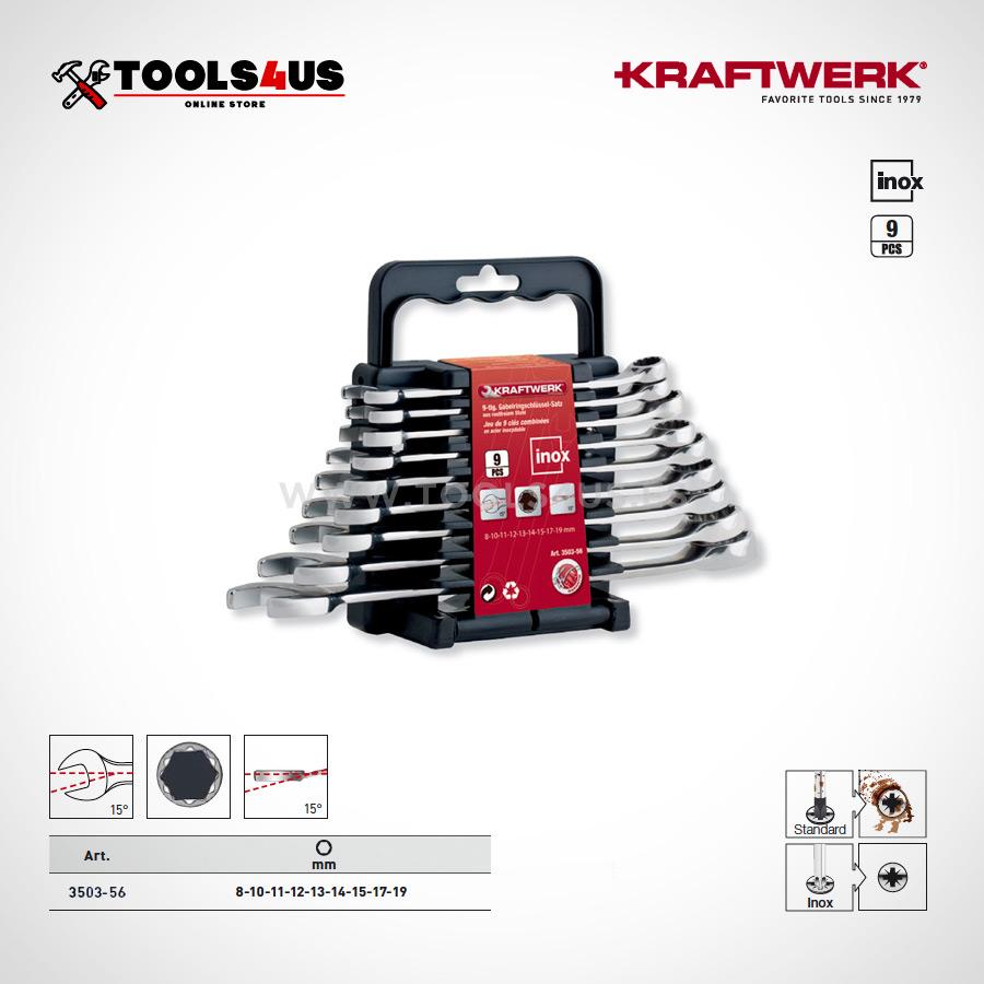 3503 56 Juego llaves combinadas en acero inoxidable inox 19 piezas kraftwerk 01 - Juego de 9 llaves combinadas en Inox