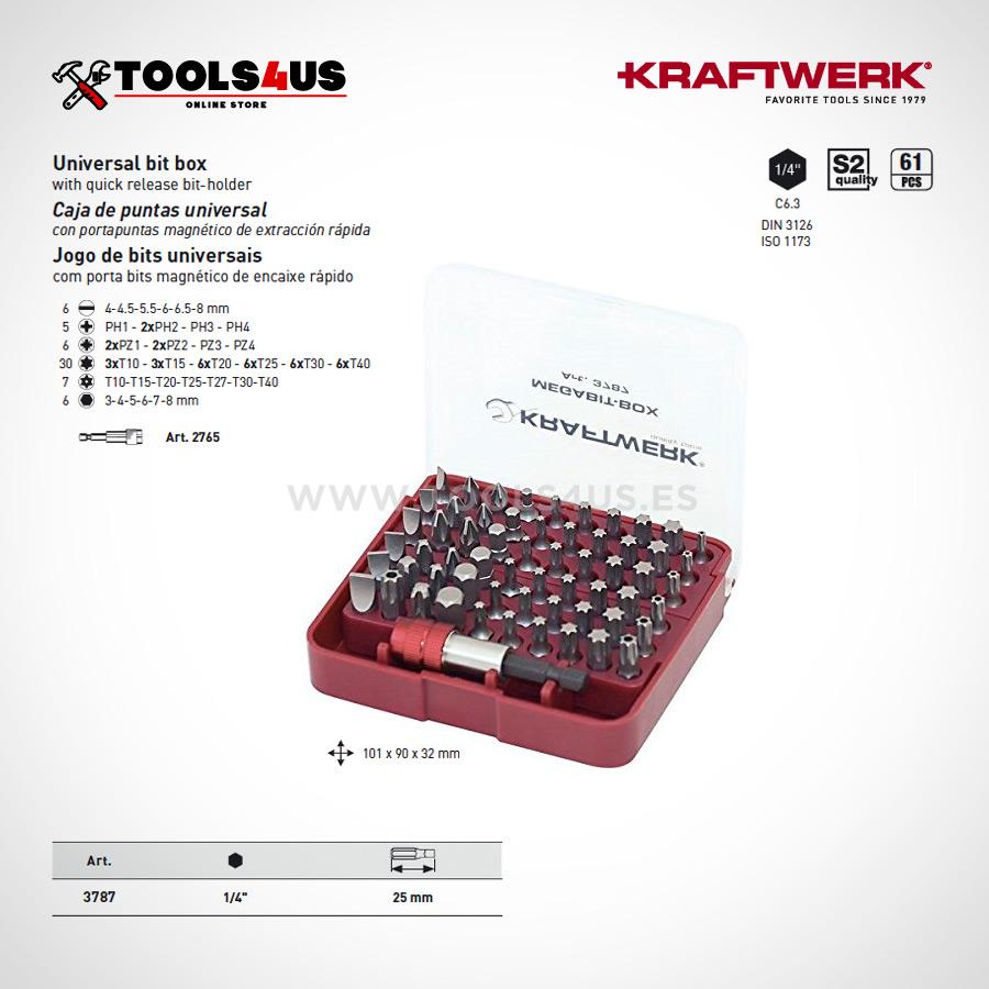 3787 KRAFTWERK Caja puntas universal portapuntas magenetico extraccion rapida 02 - Caja Megabit de puntas (61 piezas)