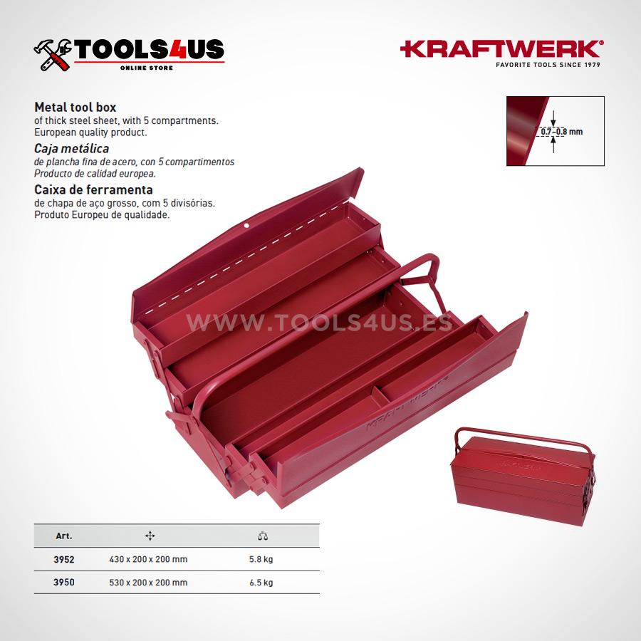 3950 3952 KRAFTWERK caja herramientas metalica clasica compartimentos variados 01 - Caja porta Herramienta Clásica Grande