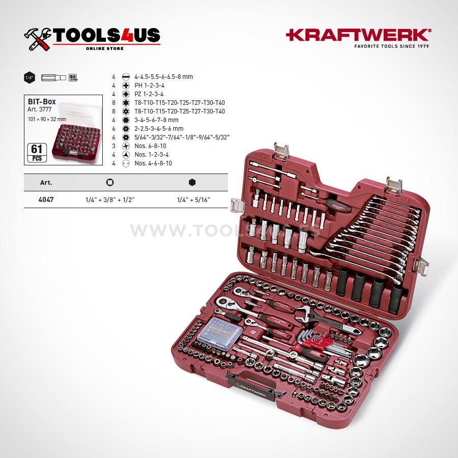 4047 Estuche set llaves vaso 28 piezas carraca compacto hightech fine powe kraftwerk 03 - Estuche 228 piezas profesional completo KRAFTWERK