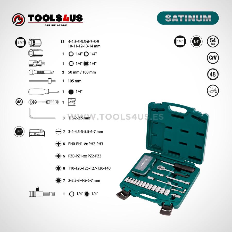 101 SATINUM maletin carraca llaves vasos puntas allen herramientas barcelona 02 - Juego llaves de vaso con carraca de 1/4 SATINUM (54 piezas)