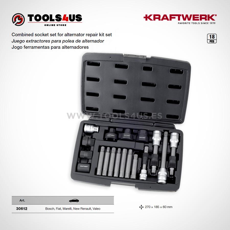 30612 KRAFTWERK herramientas taller barcelona espana Juego extractores polea alternador 01 - Juego extractores para polea de alternador