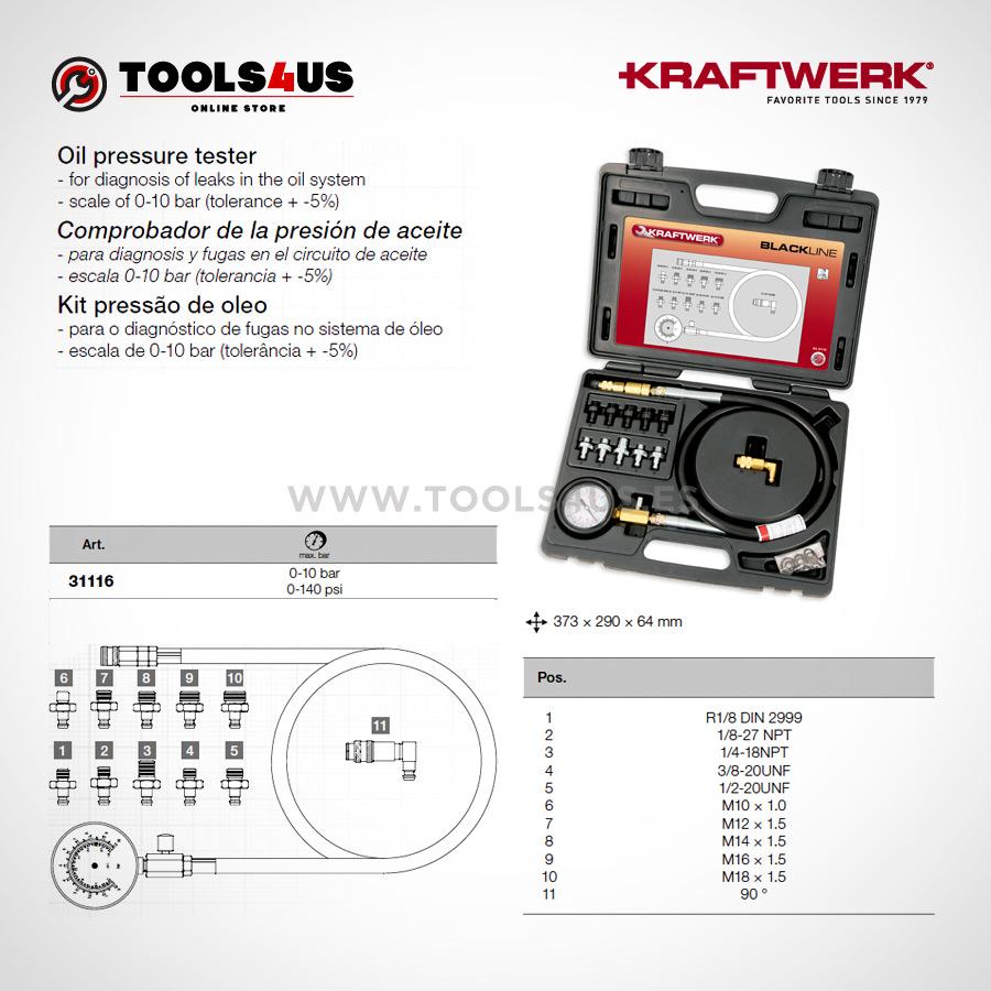 31116 KRAFTWERK herramientas taller barcelona espana Comprobador presion aceite 02 - Comprobador de la presión de aceite