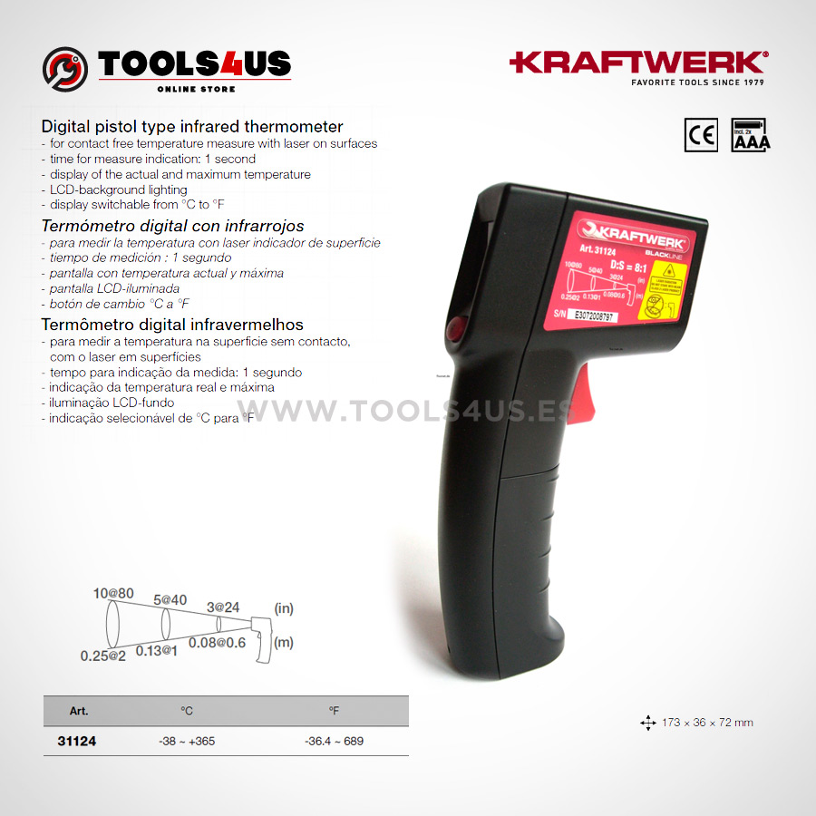 31124 KRAFTWERK herramientas taller barcelona espana Termometro digital con infrarrojos laser 01 - Termómetro digital con infrarrojos laser