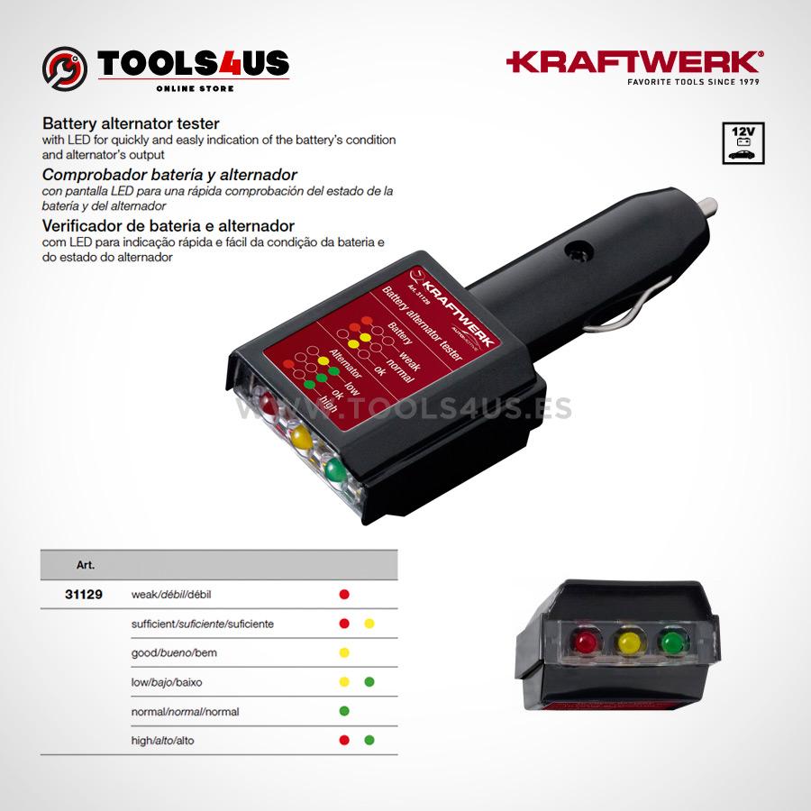 31129 KRAFTWERK herramientas taller barcelona espana Tester Comprobador bateria alternador 01 - Tester Comprobador batería y alternador