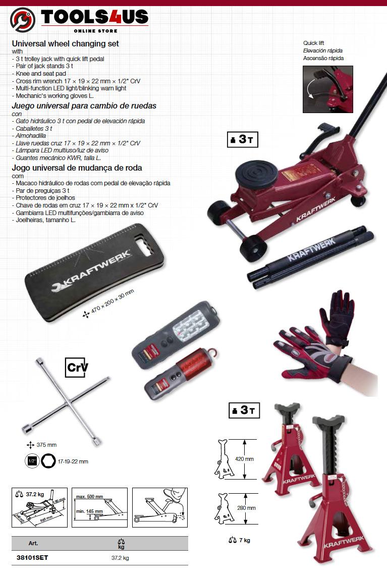 38101SET KRAFTWERK herramientas taller barcelona españa Kit Universal para cambio ruedas Evo 02 - Kit Universal para cambio de ruedas Evo