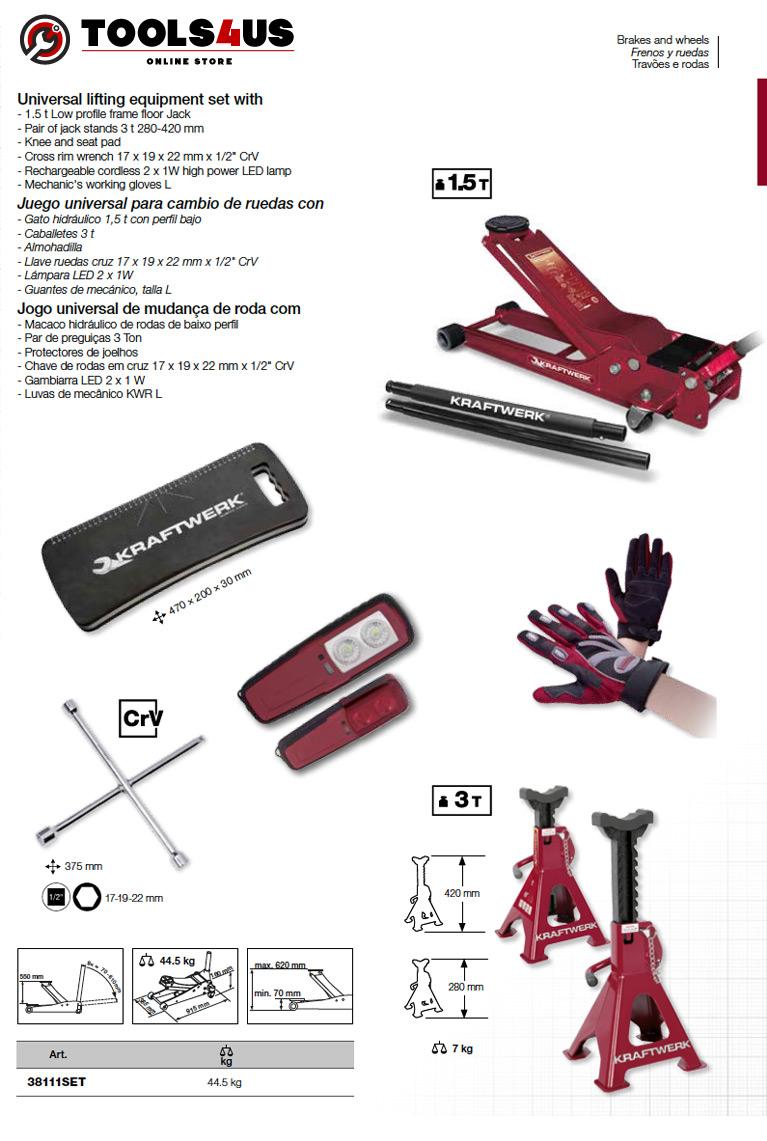 38111SET KRAFTWERK herramientas taller barcelona españa Kit Universal para cambio ruedas PRO 02 - Kit Universal para cambio de ruedas Pro