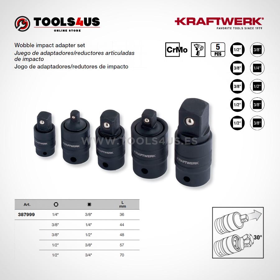 387999 KRAFTWERK herramientas taller barcelona Jueg adaptadores reductores de impacto articulados con bloqueo - Juego adaptadores / reductores de impacto articulados con bloqueo