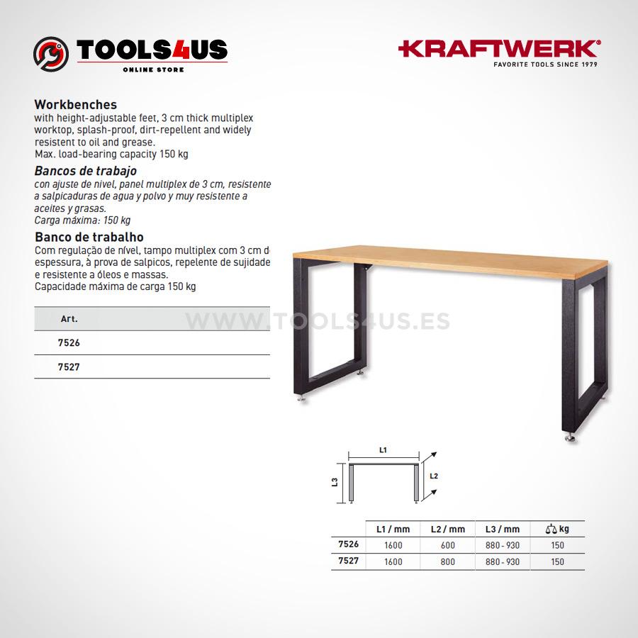7526 7527 Kraftwerk Profesional Mesa Banco de trabajo madera hierro 02 - Mesa de Trabajo Grande en Madera y Hierro Profesional Taller