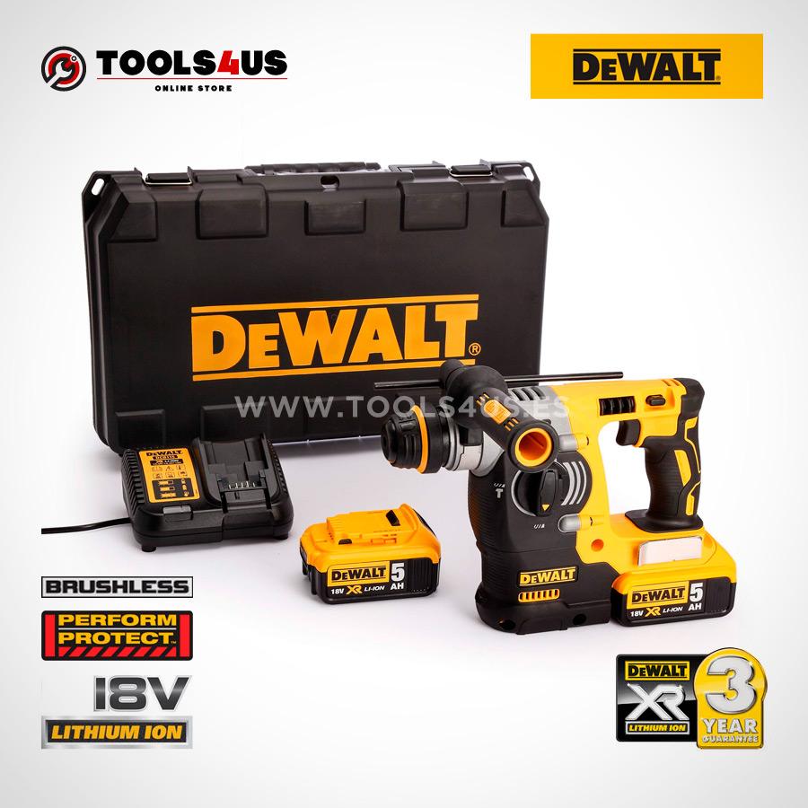 DCH273P2 QW DEWALT martillo electroneumatico a bateria 18v herramientas profesionales sin escobillas brushless 02 - Martillo Electroneumático XR SDS PLUS 18V BRUSHLESS 2.1J 5.0AH LI-ION DCH273P2