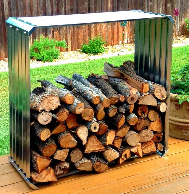 DIY firewood storage rack