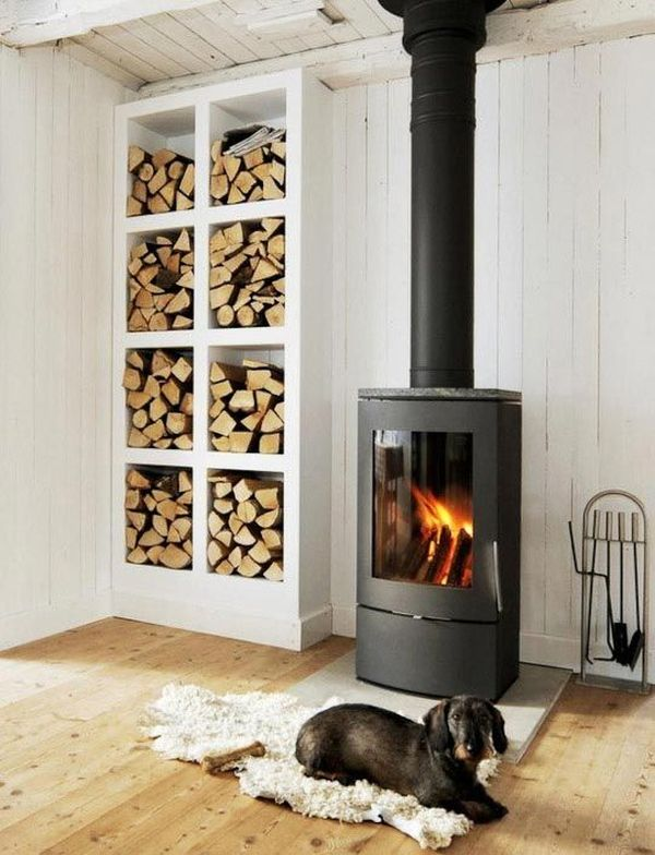 Nordic design wood stove firewood storage