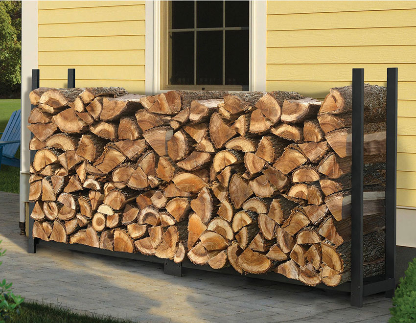 Outdoor fire storage black rack