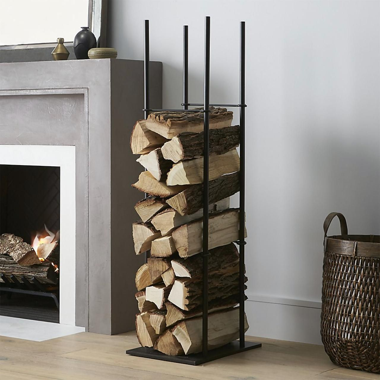 Vertically Stacked Storage Space and Firewood Rack