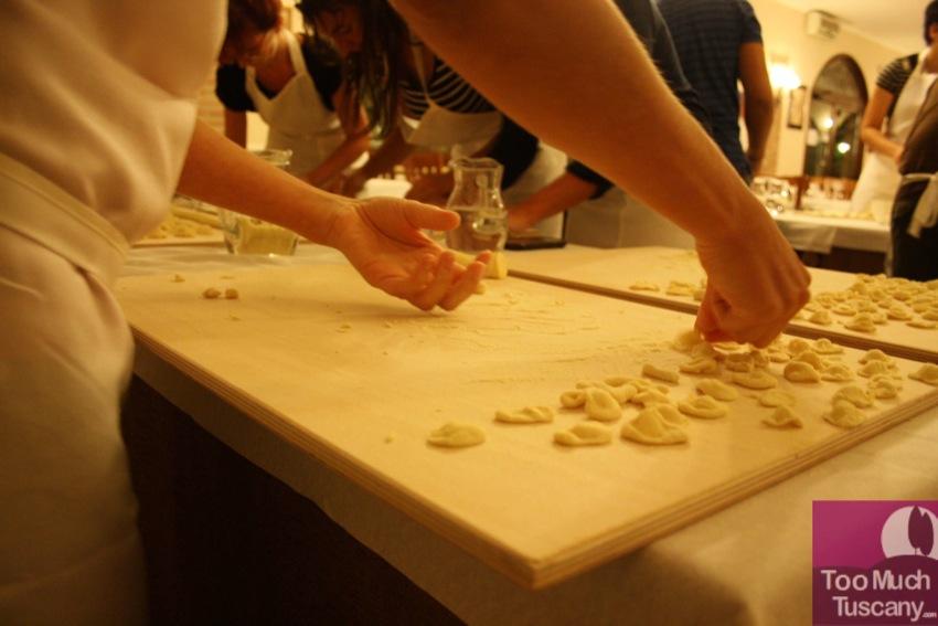 Making orecchiette at Il Gairdino Restaurant