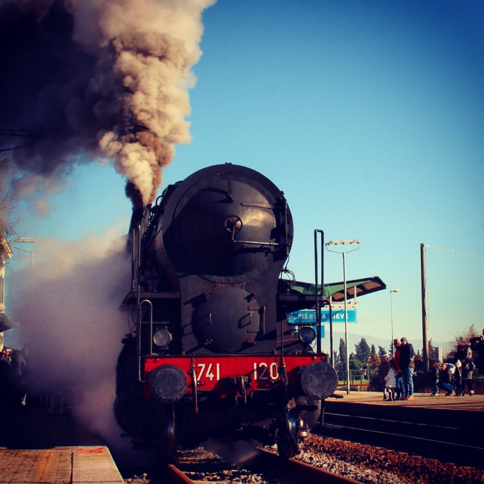 Old steam engine train in Tuscany