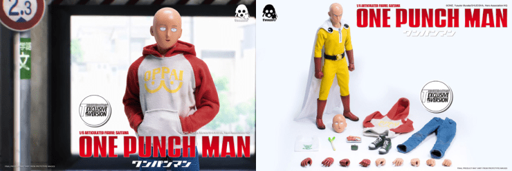 """ONE–PUNCH MAN 1/6 Articulated Figure: SAITAMA Exclusive Version is available for pre-order for a limited time at www.threezerostore.com. We also have Threezero Store Exclusive version available for pre-order at our store for $180.00USD with worldwide shipping included in the price. It additionally comes with """"OPPAI"""" logo Hoodie; Cotton Pants; Sneakers and Exchangeable Bare hands: One Pair Relaxed, One Pair Firsts and One Right Gripping Hand. (please check detailed description below) ONE-PUNCH MAN 1/6 Articulated Figure: SAITAMA Exclusive Version Details: -SAITAMA stands ~12"""" (~30cm) tall; -Includes Two Interchangeable Heads: -Serious expression; -Usual comical expression. -Articulated figure features the following clothing and accessories: -Tailored Hero Suit Costume with Cape; -""""Munageya"""" Supermarket Shopping Bag; -Snap-lock Coin Purse; -One Package of Crab Claws; -One Leek. -Collectible comes with Exchangeable Gloved Hands: -1 pair relaxed; -1 pair fists; -1 pair gripping. -""""OPPAI"""" logo Hoodie; -Cotton Pants; -Sneakers. -Exchangeable Bare hands: -1 pair relaxed; -1 pair fists; -1 right gripping hand. Delivery Date: Estimate 3rd quarter 2017"""