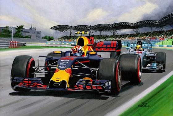 Max Verstappen wint de GP van Maleisië (2017). Schilderij door Toon Nagtegaal. Acrylverf op canvas, 90 x 60cm