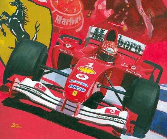 Michael Schumacher in de Ferrari F2004, acrylverf op canvas, 120x100cm