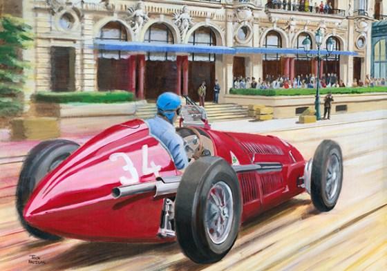 Fangio wint de GP van Monaco 1950. Acrylverf op canvas, 100x70 cm