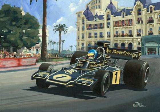 Winnaar GP Monaco 1974 Ronnie Peterson. Acrylverf op canvas, 100 x 70 cm.