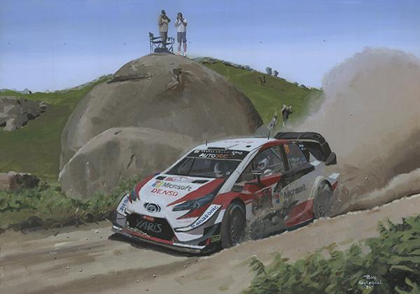 Ott Tänak WRC kampioen 2019. Acrylverf op canvas, 100 x 70 cm