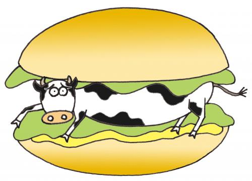 Cartoon cow between burger buns
