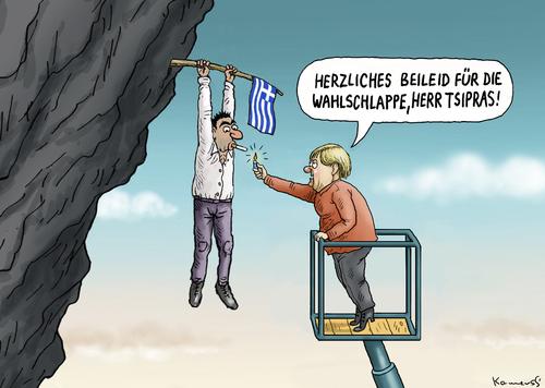Cartoon: Ένας μεγάλος φίλος Τσίπρας Γερμανία (medium) by Prüstel ετικέτα εκλογές Ελλάδα, ο κ. Τσίπρας, alexis, alexis, Ελλάδα, εκλογές, eu