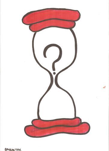 Cartoon: hourglass  and a question mark (medium) by Seydi Ahmet BAYRAKTAR tagged hourglass,and,question,mark