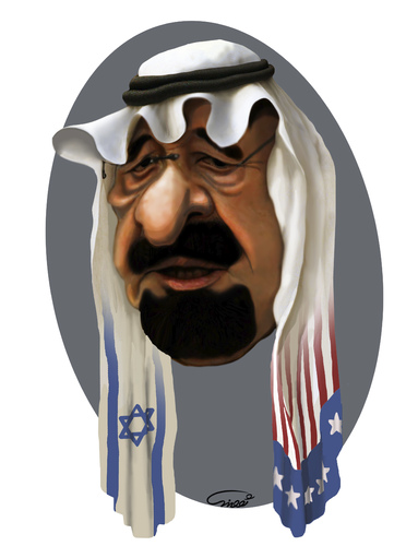 Cartoon: King Abdullah (medium) by abbas goodarzi tagged arab,saudi,arabia,face,cartoons,political,israel,america,flag,middle,east,abbas,goodarzi,art,painting,digital,king,bahrain