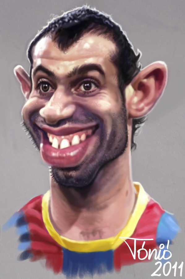 Cartoon: Javier Mascherano   FC Barcelona (large) by Tonio tagged football,karikatur,fußball,fussball,fc barcelona,javier mascherano,fc,barcelona,javier,mascherano