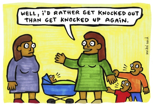 Cartoon: knocked out - knocked up (medium) by meikel neid tagged schwanger,pregnant,schwangerschaft,kinder,knocked
