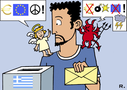 Cartoon: Greek Election Dilemma (medium) by RachelGold tagged greek,election,european,union,exit