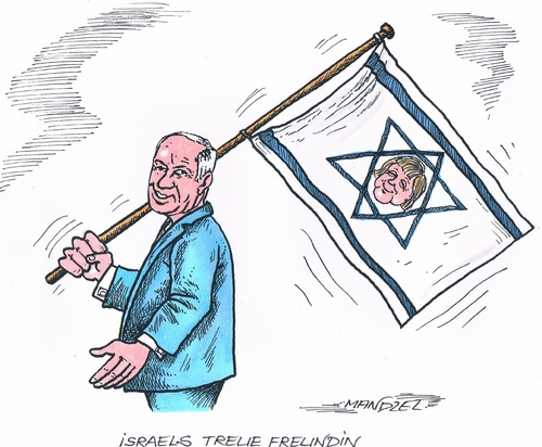 Cartoon: Merkel in Israel (medium) by mandzel tagged merkel,netanjahu,israel,freundschaft,merkel,netanjahu,israel,freundschaft