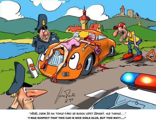 Cartoon Pussy Car Medium By Martin Hron Tagged Car