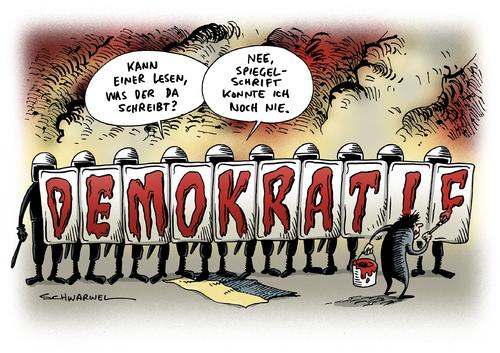 Ukraine: Parlament schafft umstrittenen Gesetze zur Einschränkung der Freiheitsrechte wieder ab - Karikatur Schwarwel