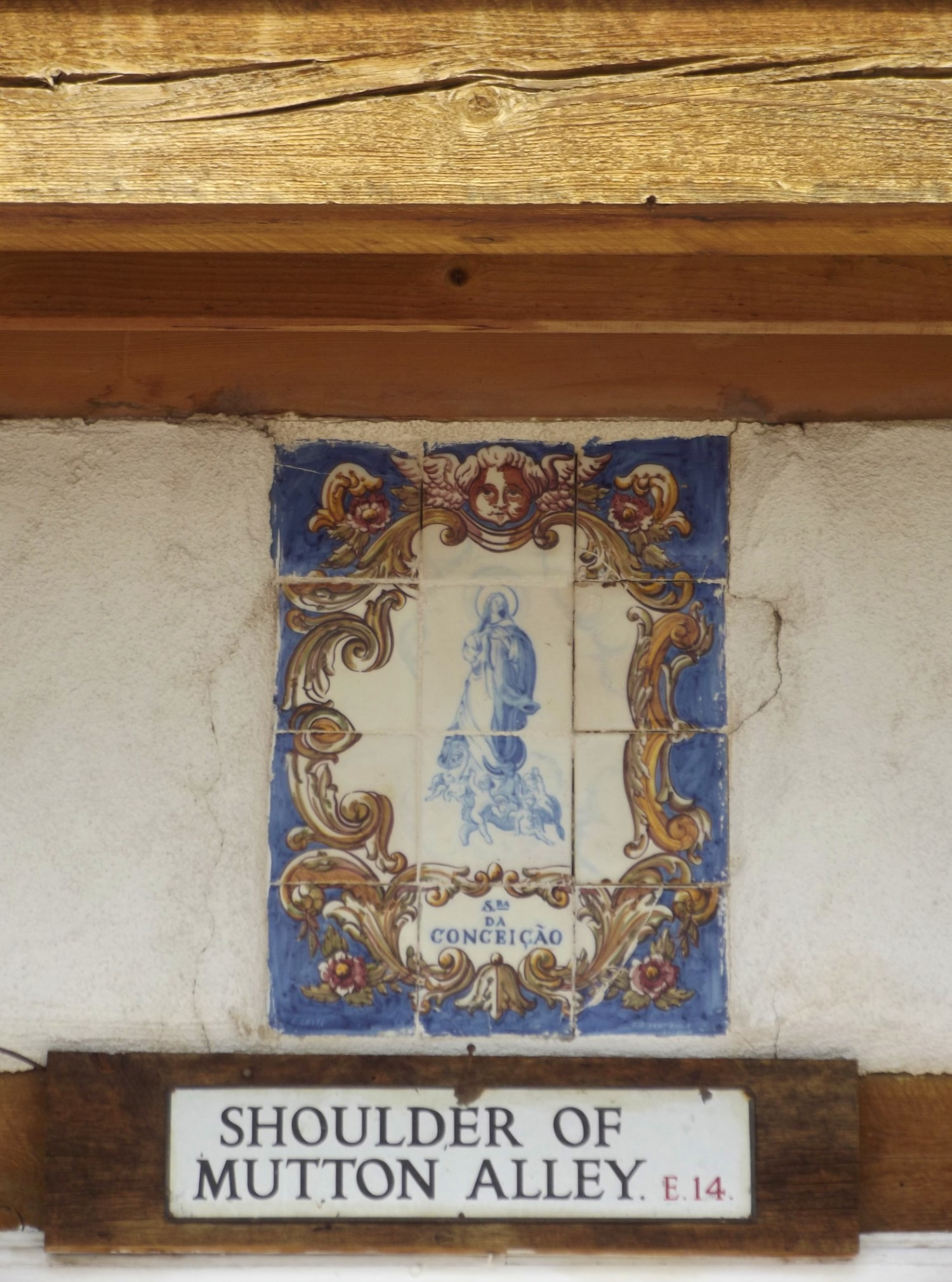 Portuguese tiles and old London street sign