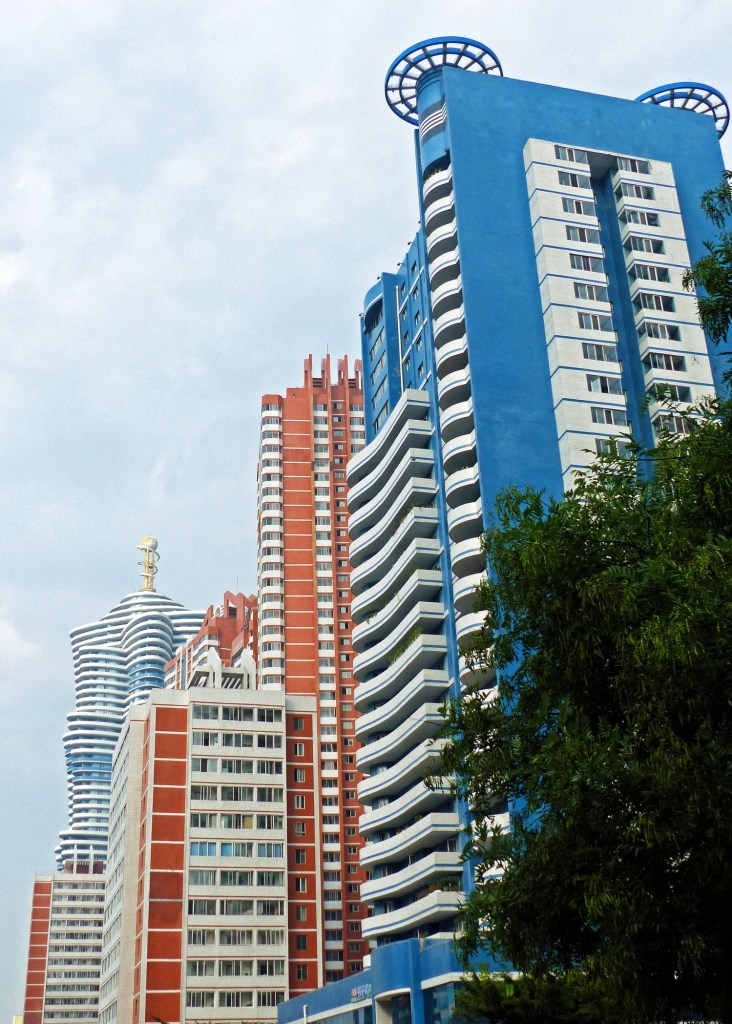 Colourful new housing blocks in Pyongyang