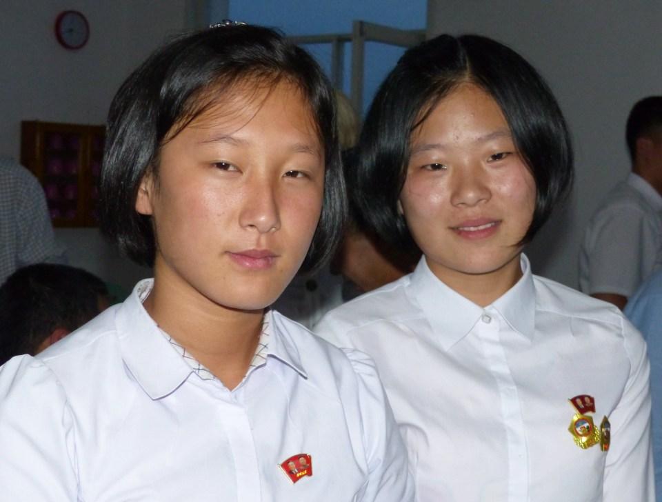 Two North Korean schoolgirls
