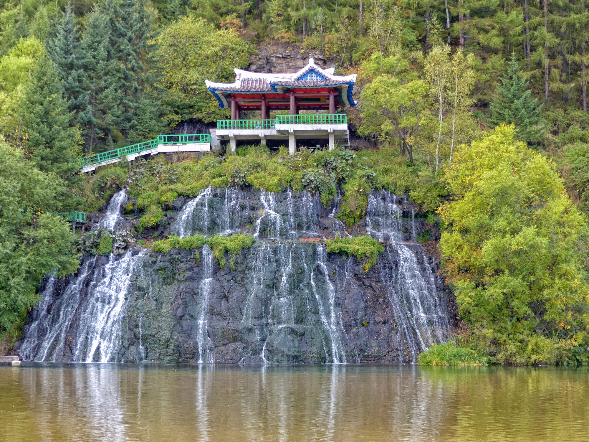 Waterfall and oriental pavilion